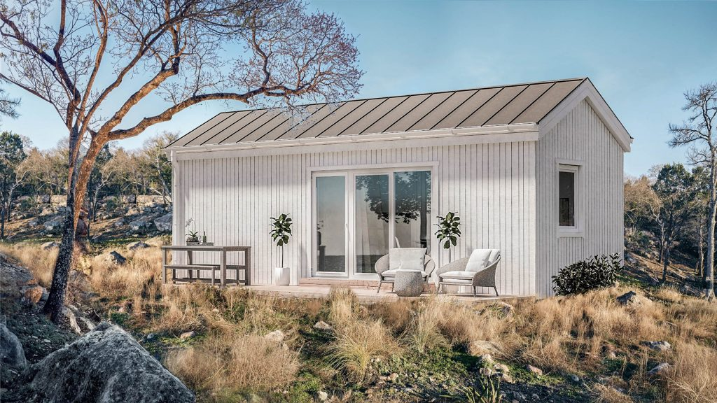 white small wooden modular house